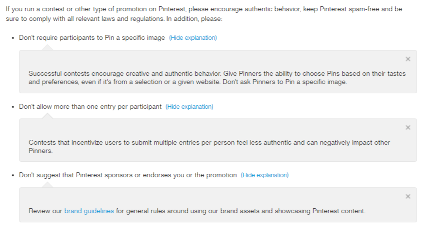 Pinterest Guidelines for Promotions