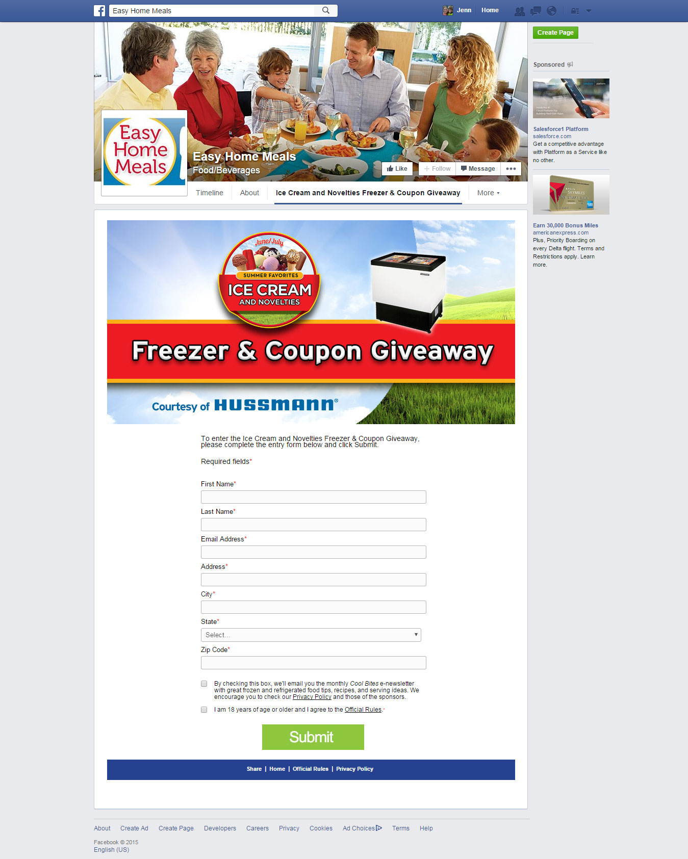 Sample Facebook Custom Application Sweepstakes
